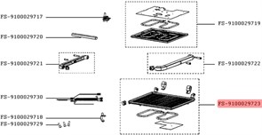 Панель для смаження в зборі з теном для електрогриля Tefal (нижня) FS-9100029723
